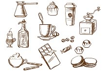 Coffee sketched icons