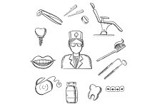 Dentistry sketch icons with dentist