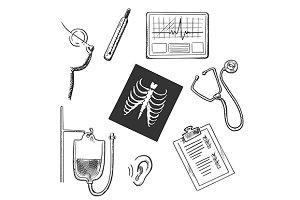 Medical diagnostics sketch icons