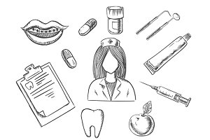 Dental sketch icons