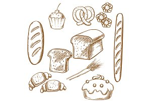 Bakery sketch icons set