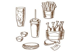 Fast food snacks and drinks sketch