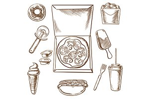 Takeaway food sketch icons