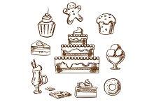 Sweet desserts icons