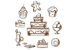Sweet desserts icons