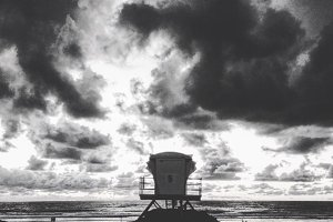 Black and white sunset lifeguard