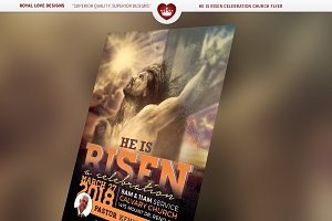 He is Risen Celebration Church Flyer