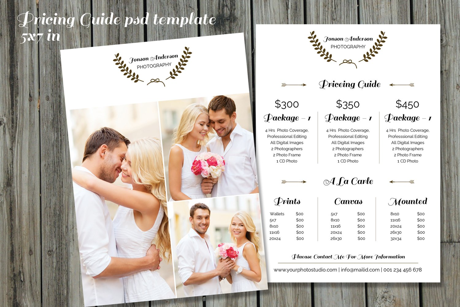 photography price list template v234 flyer templates creative market