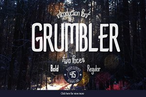 Grumbler font + logo elements set