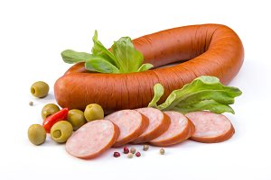 Sausage, olives and salad