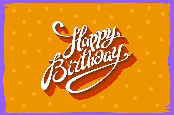 Vintage Retro Happy Birthday Card Graphics Creative Market