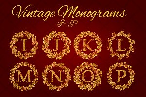 I - P letters vintage monograms pack