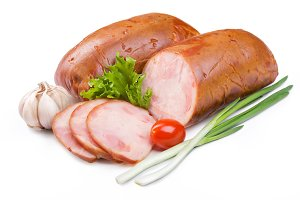 Ham with green onions and garlic