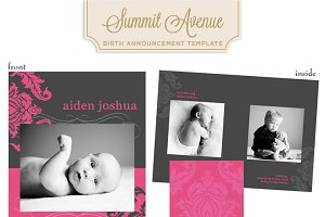Modern Damask Girl Birth Anouncement