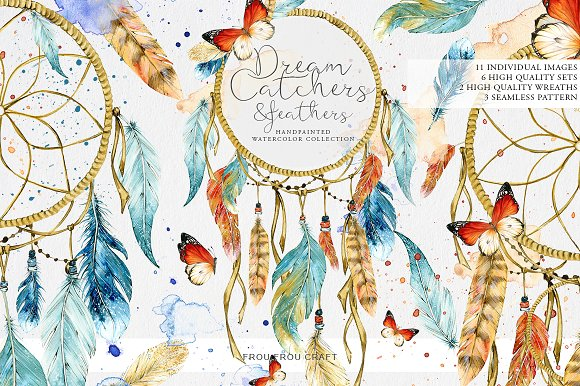 DreamCatchers and Feathers Clip Art