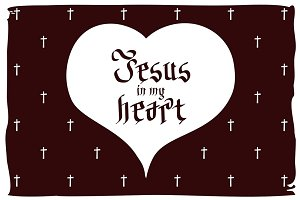 Jesus in my heart. vector vintage