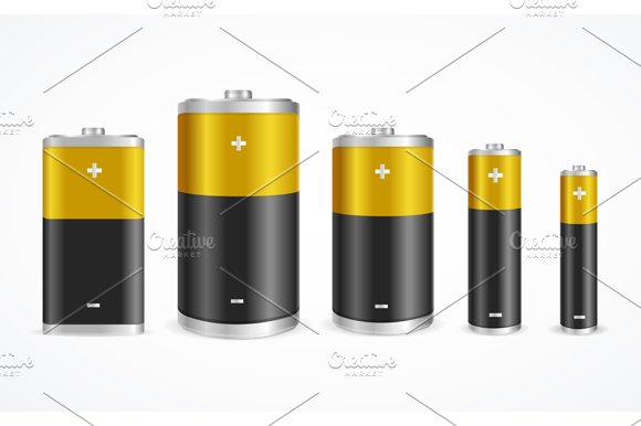 Battery Set. Vector - Objects