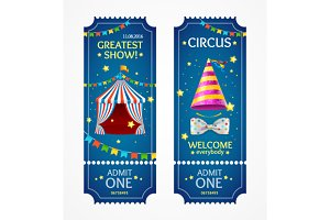 Circus Tickets Set. Vector