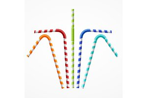 Colorful Drinking Straws Set. Vector