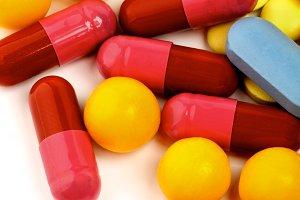 Colored Vitamin Pills