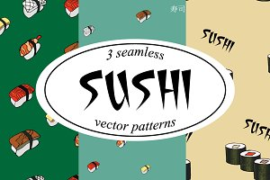 Sushi. Vector seamless patterns