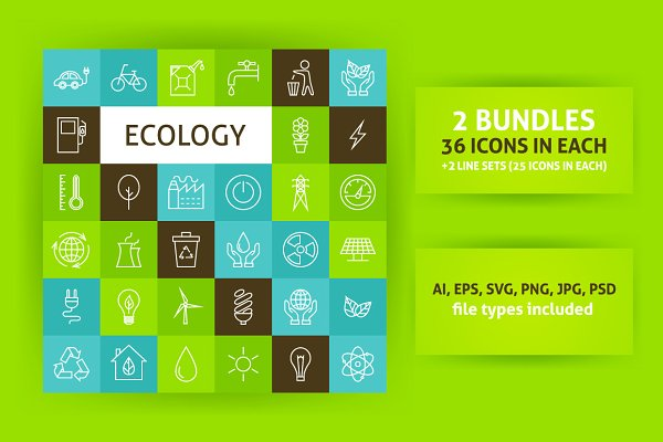 Ecology Line Art Icons