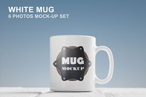 White Mug Mockup Set - 6 photos