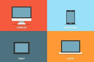 Set of electronic devices flat icons