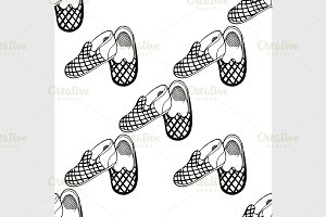 Seamless background of slippers