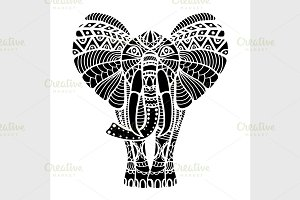 Black stylized Elephant.