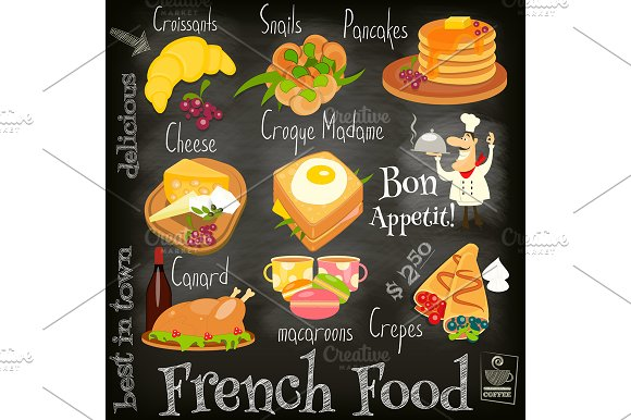 French Food Menu ~ Illustrations on Creative Market