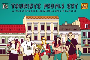 Tourists people set