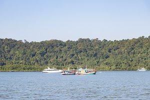 Fishing boats moored fishing