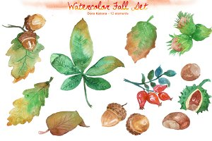 Watercolor Fall Set