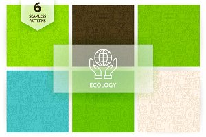 Ecology Line Seamless Patterns