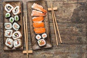 Sushi rolls, maki, nigiri. Seafood