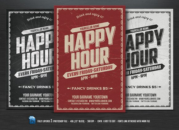 Happy Hour Flyer Flyer Templates Creative Market