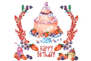 Birthday clipart - forrest fruits