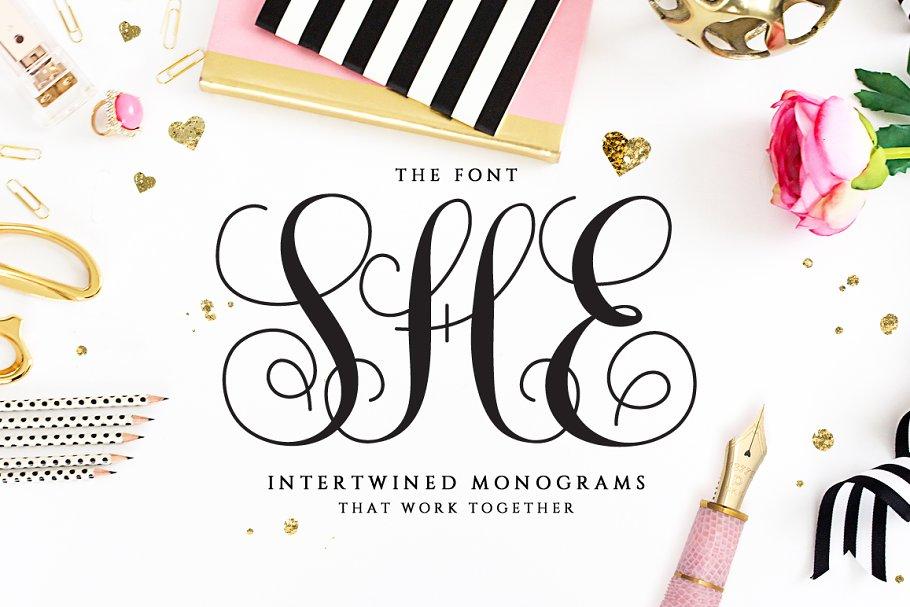 Intertwined Monogram She Font