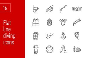 sixteen cute diving icons