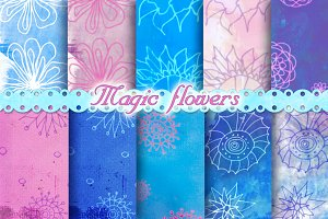 Pink Blue Magic Flowers