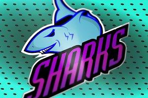 Modern professional sharks logo