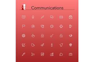 Communications Line Icons