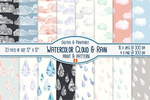Watercolor Cloud &Rain Digital Paper