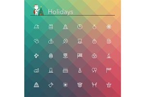 Holidays Line Icons