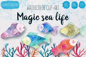 Magic sea life watercolor set