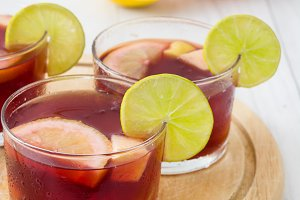Spanish sangria with fruit and ice