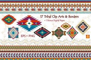 Tribal Clip Art & Border- EPS + PNG