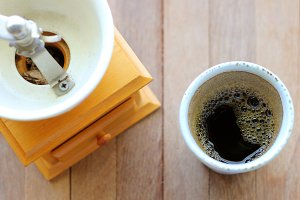 Black coffee and coffee grinder