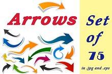 Colour curly arrows set of 75 pcs